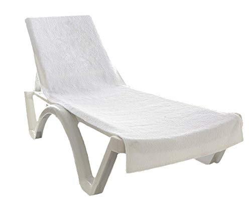 """Globaltex Fine Linens 100% Turkish Cotton Chaise Lounge Chair Cotton Towel Cover with Flap (32"""" x 87"""") - (White)"""
