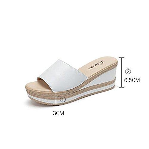 Slippers HAIZHEN Women shoes 6.5cm Female summer fashion thick Outdoor anti-skid wild high-heeled (Black/White) for Women (Color : White, Size : EU39/UK6/CN39) White