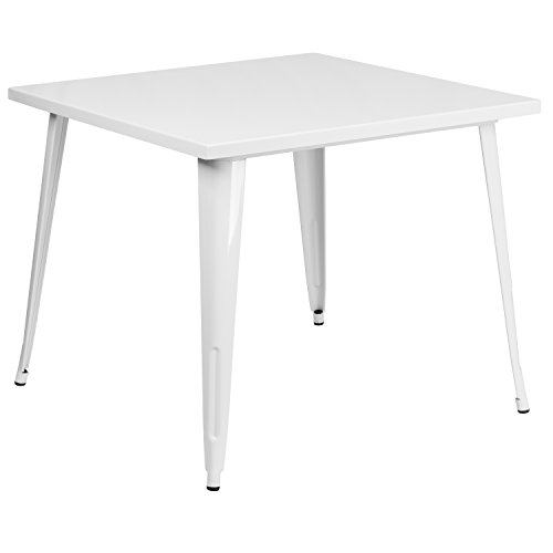 Flash Furniture 35.5'' Square White Metal Indoor-Outdoor Table (Table Dining Metal Outdoor White)