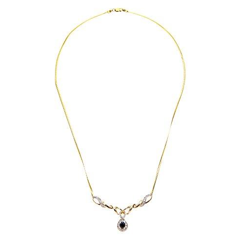 Naava - Collier - Femme - Or jaune (9 carats) 3.7 Gr - Diamant - Saphir 0.5 Cts