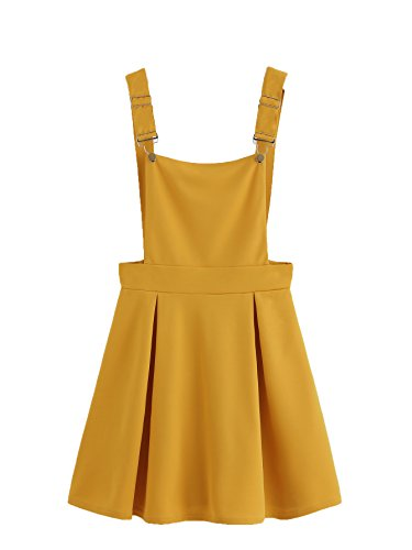 (Romwe Women's Cute A Line Adjustable Straps Pleated Mini Overall Pinafore Dress Yellow L)