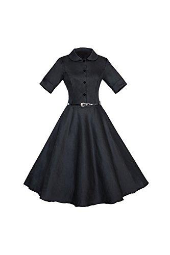 De 1940 Vintage media manga solo Breasted de las mujeres Swing vestido con cinturón Black