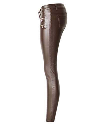 Qitunc Caffè Ecopelle Vita Coated Pu Skinny Elasticità Donna Bassa Leggings Jeans Pantaloni r6qRrw