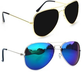 fb68ff78c46 Sheomy Unisex Combo Pack of Aviator Sunglasses for Men and Women - Mirrored  Sunglasses (Silver