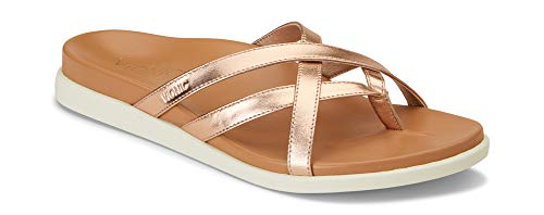 Vionic Women's Palm Daisy Toe-Post Sandal - Ladies Flip-Flop Concealed Orthotic Support Rose Gold 6 M US
