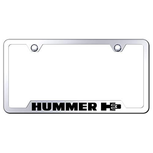Brushed Aluminum Text AtoZCustoms Hummer H3 License Plate Frame Glossy Black