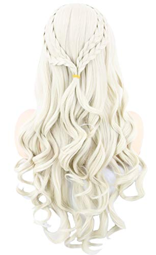Topcosplay Womens Wigs Blonde Long Curly for Daenerys Targaryen Khaleesi Cosplay Halloween Costume Wigs