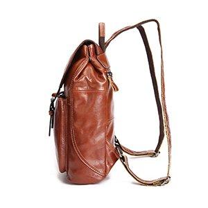 Vintage Backpacks Ladies Cow Leather Front Buckle Closure Bags Brown
