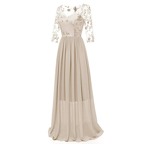 Dress Bust Sequined Chiffon (AgrinTol Women Lace Chiffon Dress Formal Long Prom Evening Party Cocktail Dress Bridesmaid Gown Beige)