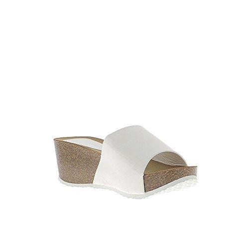 Compensata tacco 6,5 cm scarpe bianche e vassoio 3 Matt cm con flangia larga