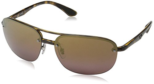 Ray-Ban RB4275CH Chromance Lens Square Sunglasses, Tortoise Frame/Rose Gold Mirror Lens - Ban Rose Ray