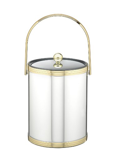 Kraftware Polished Chrome and Brass Ice Bucket with Triband Accents and Track Handle - 5 Quart -