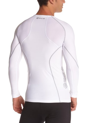 Skins A200 Men's Long Sleeve Compression Top, Small, White by Skins (Image #2)