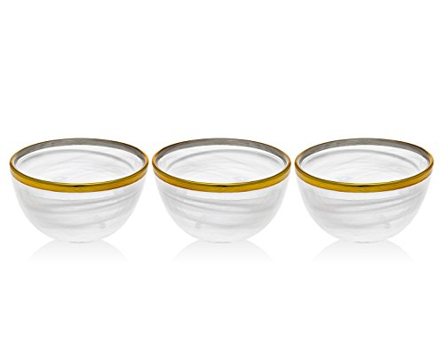 Godinger Silver Art Alabast Set OF 3 White/gold 4'' Bowl by Godinger