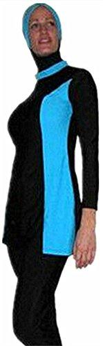 YEESAM® Musulmán trajes de baño traje de natación ropa de playa femenino islámicas burkini modesto para mujer azul