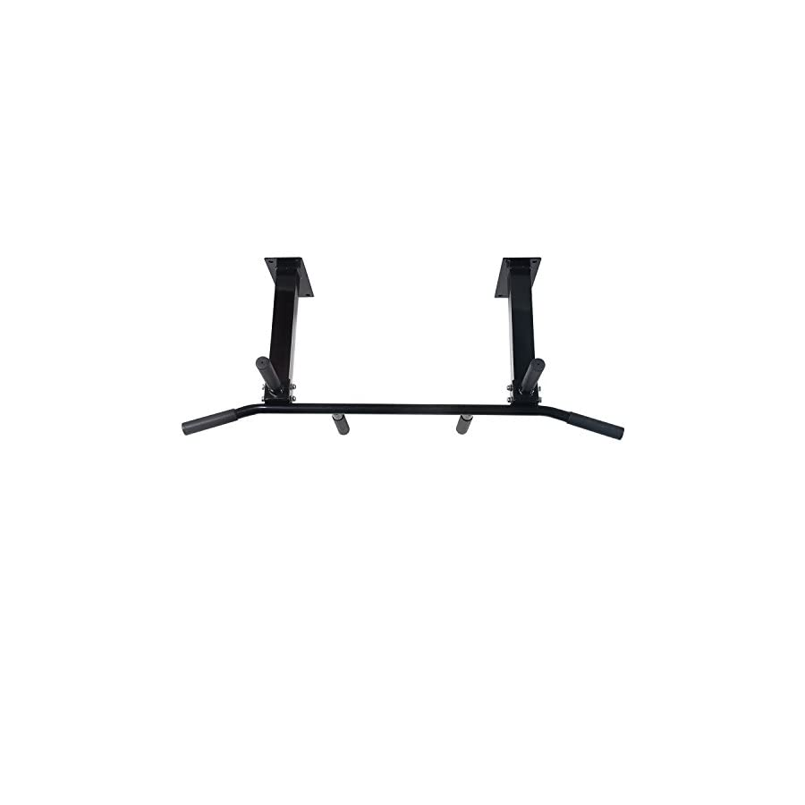Sportmad Wall Ceiling Mounted Home Pull Up Bar Fitness Bar Chin Up Bar Heavy Duty Biceps Back Abdominal Hyperextension Multi Function for Home Gym Exercise Fitness Workout Training, Black