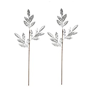 BalsaCircle 2 pcs 28-Inch Tall Silver Glittered Leaves Stems Sprays - Wedding Party Centerpieces Arrangements Decorations Supplies 114