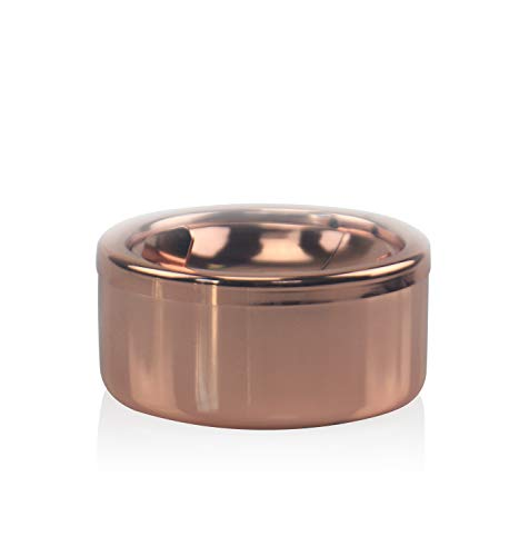 Global Wansheng Stainless Steel Ashtray Windproof, Diameter 4.72 Inch Ashtray for Cigarette Ash Loading, Creative Personality for Home, Bar, Garden, Color Rose Gold from Global Wansheng