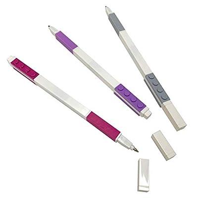 IQ Lego Stationery Gel Pens - Pastel Color 3 Pack with Building Bricks - Violet, Lavender, Grey - .7mm: Toys & Games