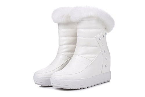 High Allhqfashion Boots Crystals Closed Solid Zipper Round Toe Low Women's with Heels White Top 8caWqr8B