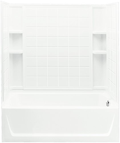 Sterling Plumbing 71120122-0 Ensemble Bath and Shower Kit, 60-Inch x 32-Inch x 76-Inch, Right-Hand, White (Soaking Shower Tub compare prices)