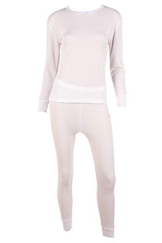 WuHou Women's 100% Cotton Thermal Underwear Two Piece Long Johns Set-2XL-White ()