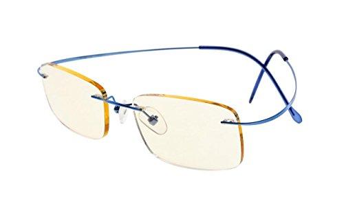 - Eyekepper Titanium Rimless Computer Reading Glasses Readers Women Blue +1.50