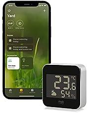Eve 20EBS9901 Weerstation met Apple HomeKit-technologie voor het bewaken van temperatuur, luchtvochtigheid en luchtdruk; weertrend, IPX3-waterbestendigheid, display, bluetooth, thread, zwart-grijs