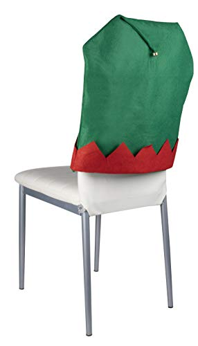 Juvale Christmas Chair Covers - 6-Pack Dining Seat Back Slipcover, Santa Elf Hat Design with Gold Bell, Holiday Themed Accessories Festive Decor for Home and Kitchen, Red and Green, 19 x 22 Inches