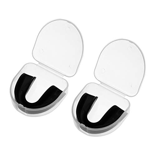 - ❤️MChoice❤️Clear Gum Shield Teeth Protector Mouth Guard Piece Rugby Football Boxing (Black (2 pcs))
