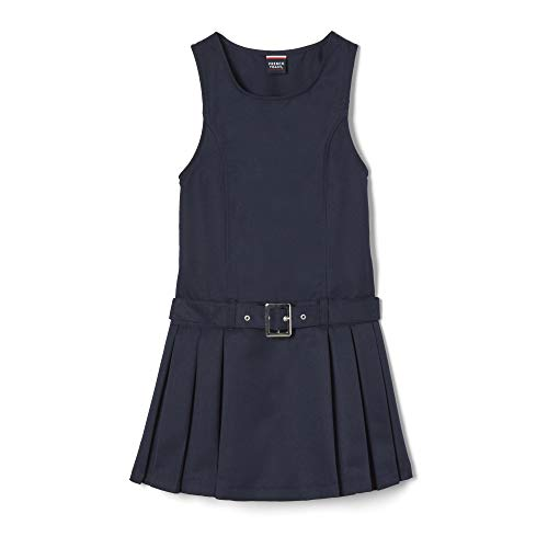 French Toast Girls'  Side-Pleated Jumper with Faux Belt, Navy, 5,Little Girls