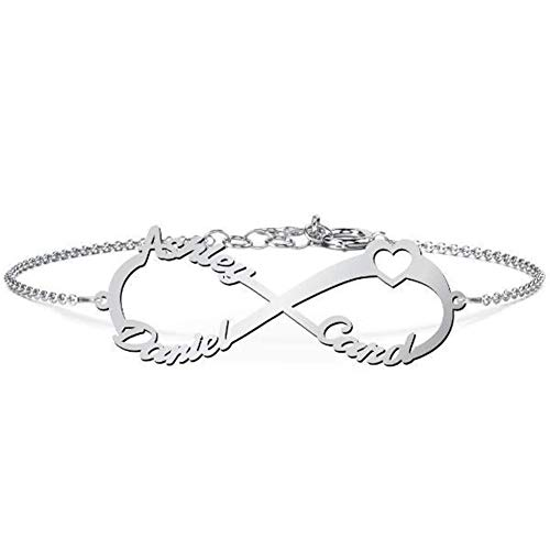 (Personalized Infinity Name Bracelet 925 Sterling Silver Heart Bracelets Couples Custom Made Any Names (Silver))