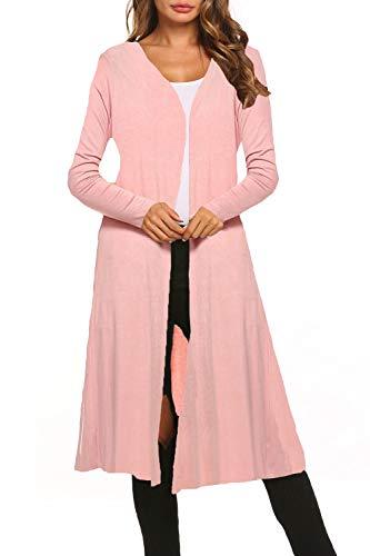 BLUETIME Women Lightweight Casual Long Sleeve Open Cardigan Extra Long Duster Soft Cardigan (XL, Dusty Pink)