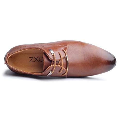Moda Dedo Encaje Del Estilo Los Formales Marrón Zapatos Cuero Punta Hombres Pie Oxford De Negocios nnqvp8a