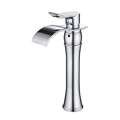 Wovier Chrome Waterfall Bathroom Sink Faucet,Single Handle Single Hole Vessel Lavatory Faucet,Basin Mixer Tap Tall Body Ada Vessel Lavatory Faucet