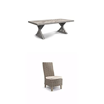 Ashley Furniture Signature Design - Beachcroft 6-Piece Outdoor Dining Set - Rectangular Dining Table with Umbrella Option, 2 Arm Chairs, 2 Side Chairs & Bench with Cushion - Beige - 1 of Signature Design by Ashley P791-625 Beach Croft Patio Dining Table 1 of Signature Design by Ashley P791-601 Beach Croft Patio Side Chair 1 of Signature Design by Ashley P791-601A Beach Croft Patio Chair - patio-furniture, dining-sets-patio-funiture, patio - 31DStJnfmDL. SS400  -
