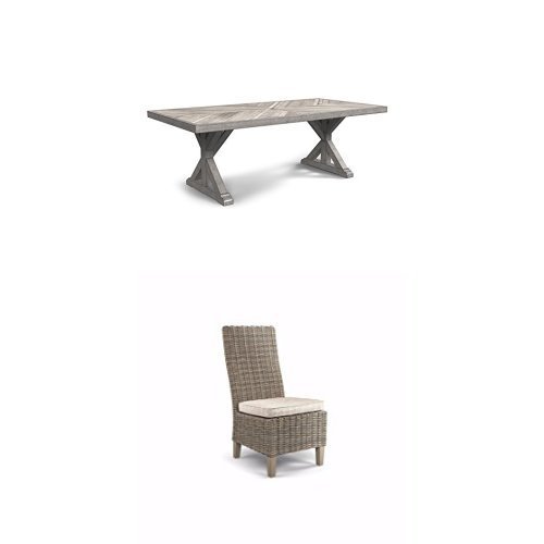31DStJnfmDL - Ashley Furniture Signature Design - Beachcroft 6-Piece Outdoor Dining Set - Rectangular Dining Table with Umbrella Option, 2 Arm Chairs, 2 Side Chairs & Bench with Cushion - Beige
