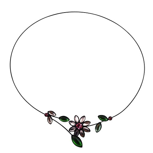 Kristina Collection Open Loop Flower and Buds Choker Necklace, Czech Glass on Memory Wire ()