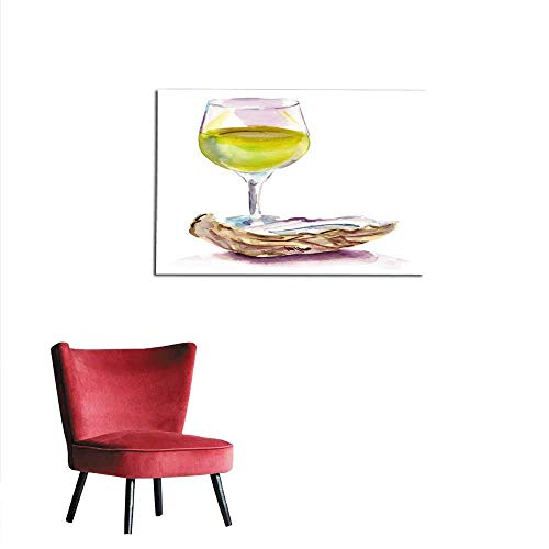 Art Stickers Watercolour Glass of White Wine with Oyster on White Background Mural 36