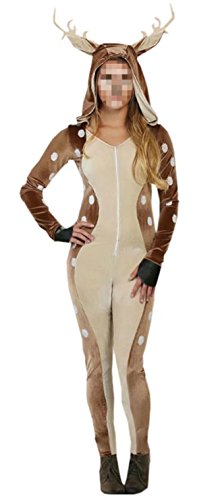 [Ameyda Women's Adult Fawn Costume Halloween Fancy Dress Onesie Clothing] (Fawn Costumes For Adults)