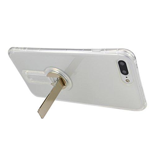 Funda iPhone 7 Silicona, Rosa Schleife Ultra delgado Cubierta de la caja del silicón de TPU Caso Carcasa cubrir con diseño de chapado de la contraportada Función de Soporte Funda de Móvil para el iPho Transparent - Oro