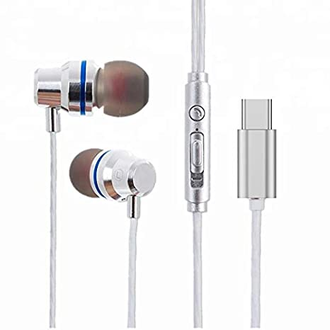 Wissenschaft JP53 USB C-Type in-Ear Headphones with Mic HD Stereo. Works with Phones which Donot Have 3.5mm Jack. (Type-C USB Plug, Silver) Mobile Phone Wired Headsets at amazon