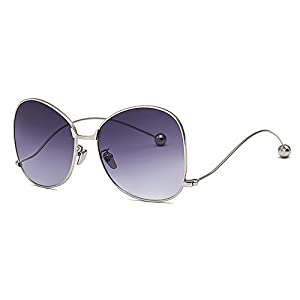 JOJO'S SECRET Upside Down Sunglasses, Oversized Metal Frame Steel Ball Sunglasses JS011 (Sliver/Grey, 2.28)