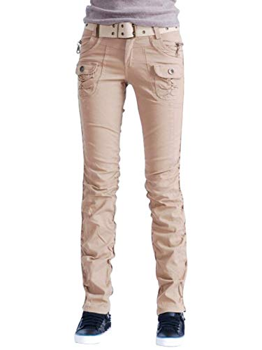 Cargo Womens Jeans - AUSZOSLT Women's Casual Stretch Utility Pocket Skinny Cargo Pants Jeans with Zipper Khaki XL