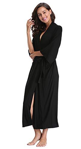 WitBuy Women's Soft Modal Cotton Long Robe Pure Knit Bathrobe Lightweight Sleepwear Black XL ()