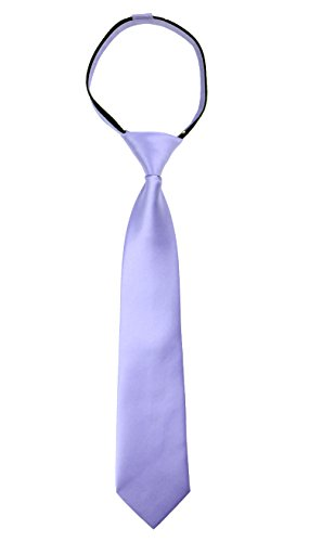 Spring Notion Boys' Satin Zipper Neck Tie Medium Dusty Lavender ()