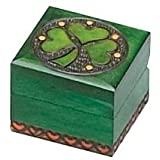 Small Irish Shamrock Box Hand Carved Wood