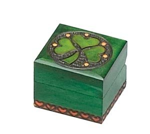 Small Irish Shamrock Box Hand Carved Wood Irish Wood