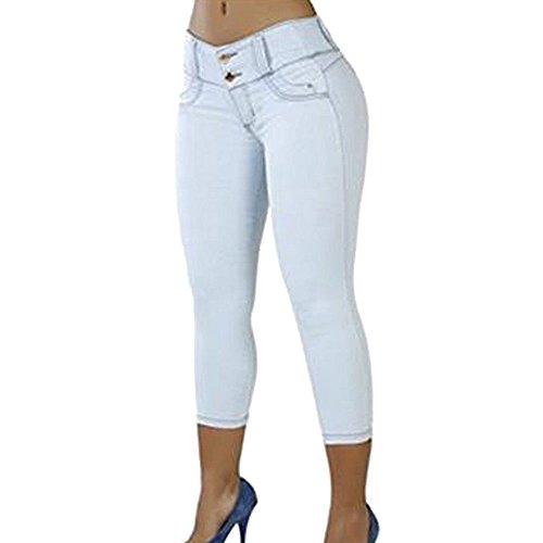 Jeans Extensible pour Femme - Pantalon Taille Basse  Taille Basse Pantalon t Fille 3/4 Longueur Leggings Slim Fit Blanc/Bleu Clair/Bleu fonc/Noir Blanc