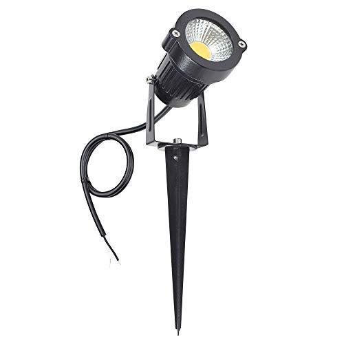 J.LUMI GSS6125 LED Flood Light 5W, Low Voltage DC 12V, 20 Watt Equivalent, 3000K Warm White, Landscape Lights, Open Wires NO Power Plug, Metal Spike Stand (Pack of 1)